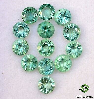 3.71 Cts Natural Emerald Round Cut 4 mm Lot 13 Pcs Faceted Loose Gemstones