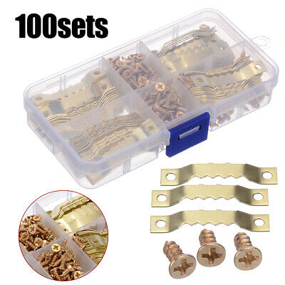 100Set Picture Saw Tooth Hanger Brassed Canvas Frame Screw Hooks Hanging Listing