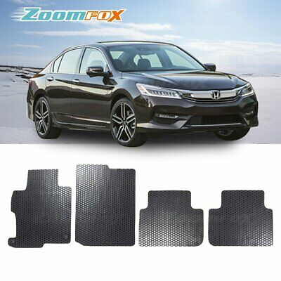 Fit 2013-2017 Honda Accord 4D Black All Weather Rubber Floor Mat Front Rear