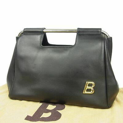 a7442d1c5b4 Auth BALLY Vintage Logos Leather Metal Clasp Hand Bag w/Dust bag F/S