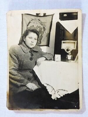Young beautiful girl Soviet ancient real photo 1950 USSR Russia 9x12