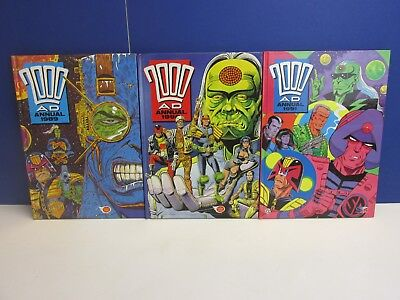 old vintage JUDGE DREDD 2000AD ANNUAL STORY BOOK set 1989 1990 1991 HARDBACK 59z