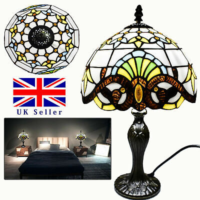 Glass Tiffany Style Table Lamp Antique Design Multi Colour Hand Crafted UK Plug