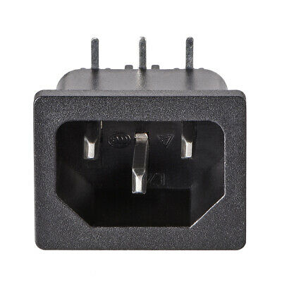 C14 Panel Mount Plug Adapter AC 250V 10A 3Pins IEC Inlet Module Plug Right Angle