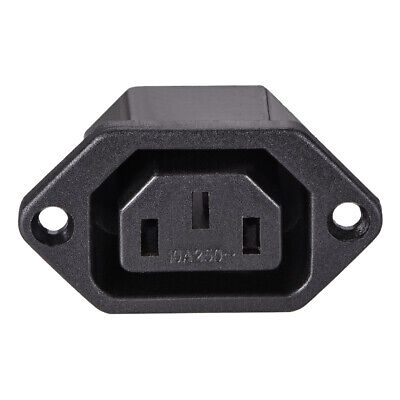 C13 Panel Mount Plug Adapter 250V AC 10A 3 Pins  IEC Inlet Module  Straight