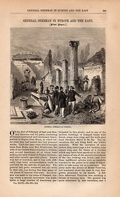 GENERAL SHERMAN EUROPE & EAST Original 1873 HARPER'S MONTHLY MAGAZINE Extract