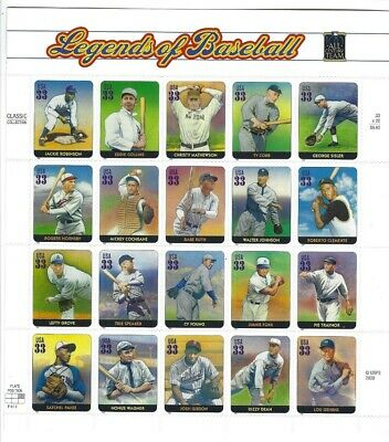2000 Scott# 3408  33c LEGENDS OF BASEBALL  Sheet of 20  MNH