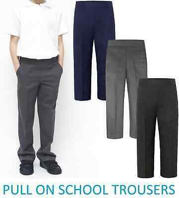 88f51a9f1d2 Boys School Uniform Pull Up Trousers Elasticated Waist BLACK/GREY/NAVY  2-9YRS