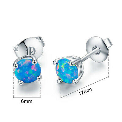 1 Pair Woman Fashion 925 Silver Jewelry Blue Fire Opal Charm Stud Earring NEW !!
