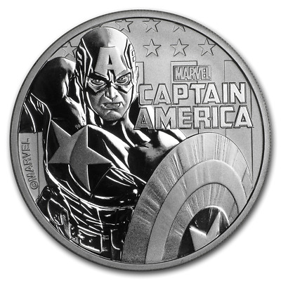 TUVALU $1 Dollar 2019 MARVEL Captain America Hero Perth Mint 1 oz silver coin