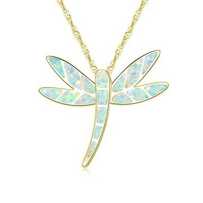 Fashion woman 18K Gold Dragonfly White Fire Opal Charm Pendant Necklace Chain !!