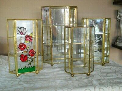 Four Vintage Brass Glass Curio Miniatures Display Cabinet Case