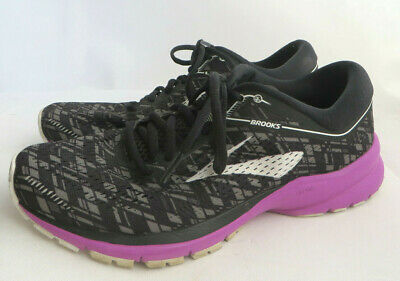 4174f69f7f5 Brooks Launch 5 Sneakers Women s Size 9 Black White Gray Purple Running  Shoes