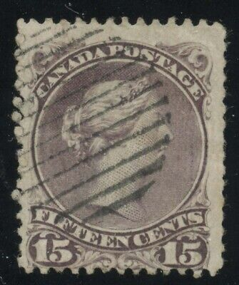 Canada 1868 Large Queen 15c purple Bothwell Paper #29v used