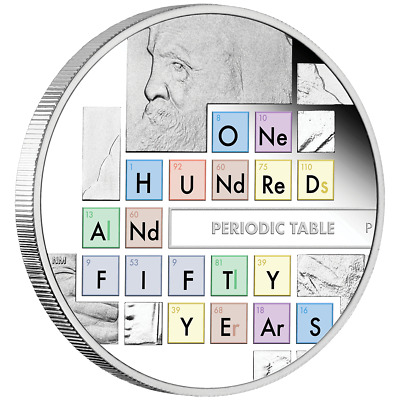 TUVALU 1$ Dollar 2019 150th Anniversary Periodic Table 1oz Silver Proof Coin MEN