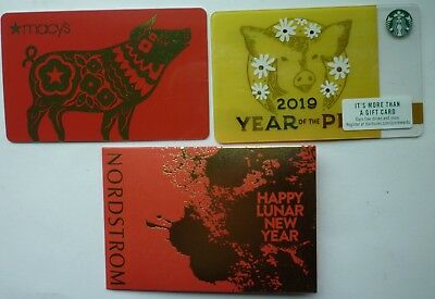 Gift Cards 2019 Chinese New Year Of The Pig  Starbucks  + Macy's + Nordstrom