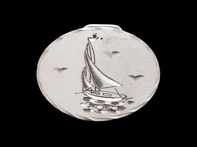 JC05102 VINTAGE 1970s HAND ENGRAVED **SMALL SAILBOAT** PEWTER ARTWORK BUCKLE
