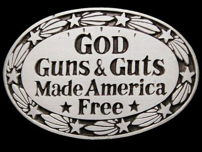 Jb19113 Vintage 1978 Great American **God Guns & Guts Made America Free** Buckle