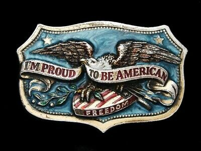 Nb27107 Vintage 1984 **I'm Proud To Be American** Patriotic Belt Buckle