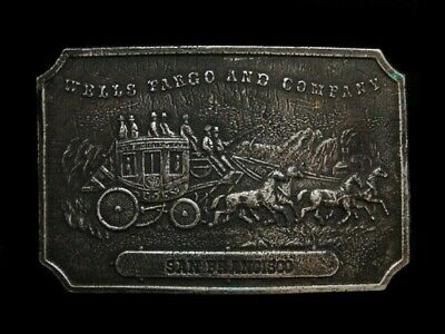 NE07147 VINTAGE 1970s **WELLS FARGO AND COMPANY SAN FRANCISCO** BELT BUCKLE