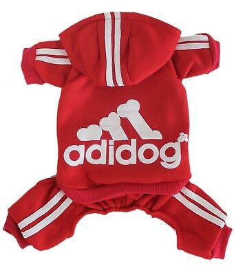 Adidog Pet Clothes Small Dog Puppy Hoodie Coat Sweatshirt Sweater Red Jumpsuit