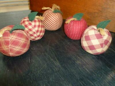 5 Primitive Hand Crafted Red Plaid Gingham Weighted Apple Bowl Fillers Ornies