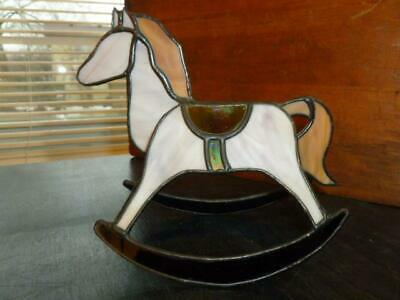 "Vintage Stained Glass Rocking Horse 6"" X 7"" Sun Catcher Dimensional Figurine"