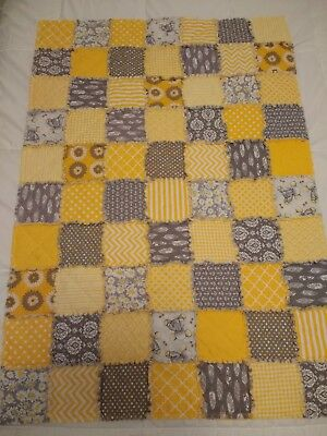 NEW Crib size handmade baby rag QUILT yellow & gray blanket - boy or girl
