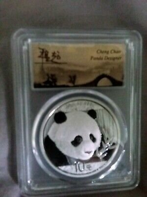 2018 30g Silver China Panda 10Yn PCGS MS70 35th Anniversary Cheng Chao Signed