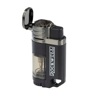 Rockwell Quad Torch Cigar Lighter - Black and Gunmetal - Refillable Butane - New