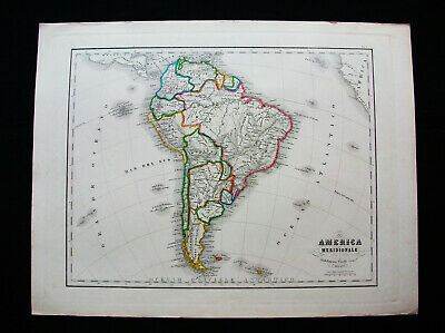 1860 CIVELLI - amazing folio map, SOUTH AMERICA, VENEZUELA, BRAZIL, CHILE, PERU
