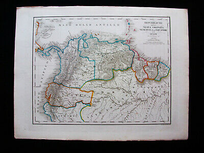 1860 CIVELLI - amazing folio map, SOUTH AMERICA, VENEZUELA, CARACAS, COLOMBIA...