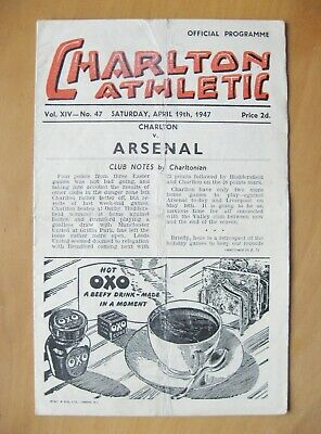 CHARLTON ATHLETIC v ARSENAL 1946/1947 *Good Condition Football Programme*