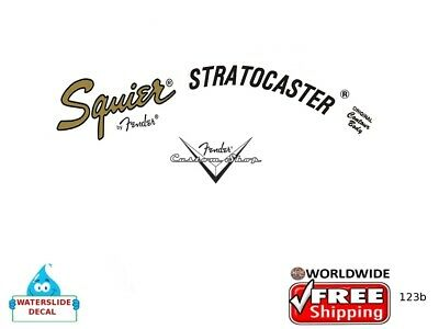 Fender Stratocaster Guitar Headstock Decal Restoration Waterslide logo 123b