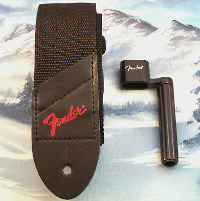 Genuine Fender ~ Red Logo Guitar Strap + String Winder