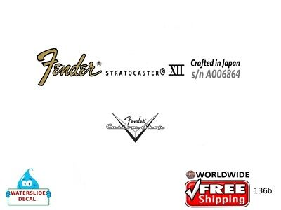 Fender Stratocaster Guitar Headstock Decal Restoration Waterslide inlay logo136b