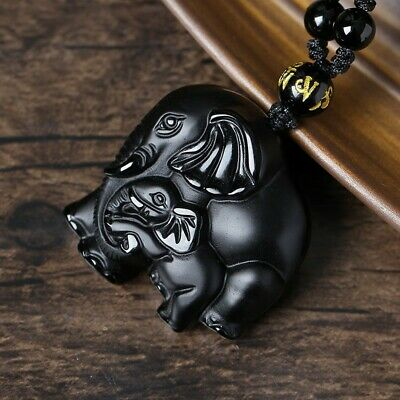 Natural 100% Obsidian Elephant Pendant Necklace Charm Jewelry Lucky Amulet L2
