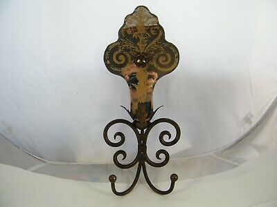 Vintage Copper Plated Iron And Mirror Wall Sconce