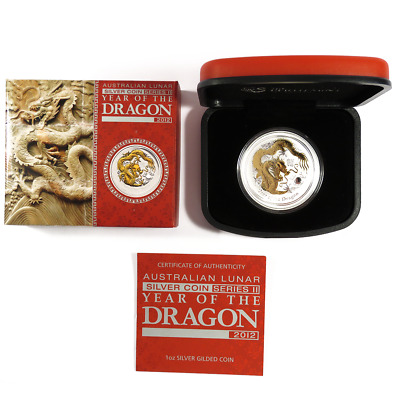 2012 $1 Australian 1 oz Silver Lunar Series Year of the Dragon Gilded Edition wi