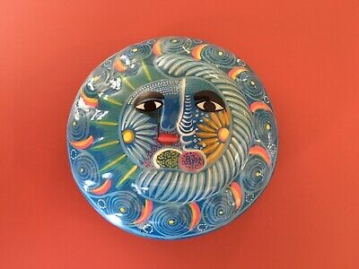 Red Clay Handpainted Pottery Trinket Box With Lid Brightly Painted Sun & Sea.