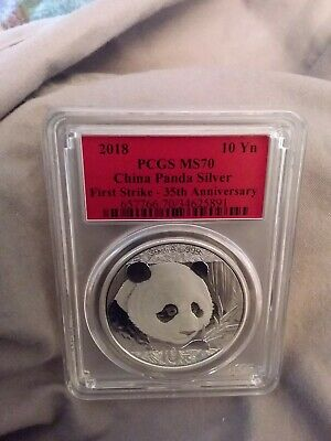 2018 30g Silver China Panda 10Yn PCGS MS70 35th Anniversa First Strike Red Label