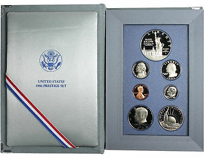 1986 Prestige Proof Set 7 Coin Statue of Liberty 90/% Silver $1 with Box and COA