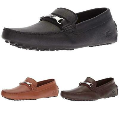 b29bed57a609 Men s Lacoste Ansted 318 1 U Loafers Leather Slip on Drivers Black Brown