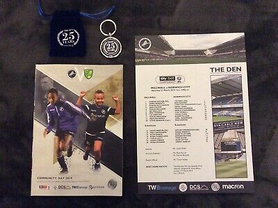 Millwall V Norwich City   Programme & Team sheet and 25 Year Key Ring 02/03/2019