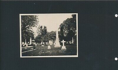 1920-1930 Captioned Los Angeles California Graveyard Cemetery on Black Page