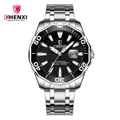 2018 Luxury Fashion Mens Watches Full Steel Waterproof Diver Chenxi Top Brand