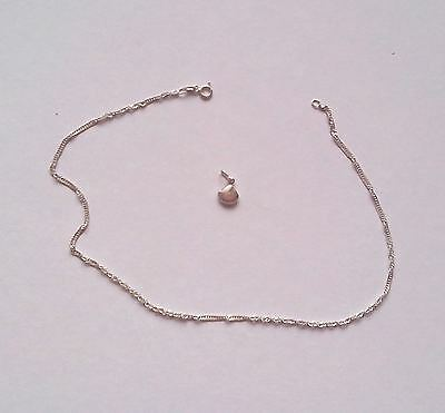Sterling Silver Necklace with Shell charm - chain length 39cm  Charm 1cm square