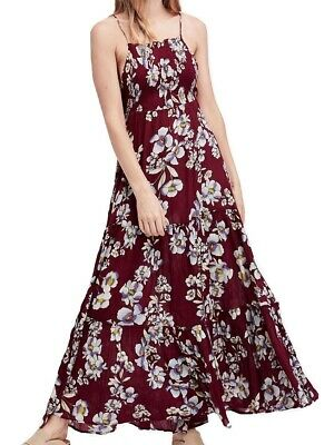 cedb0e2e47 Free People NEW Red Women s Size Small S Floral Smocked Maxi Dress  128  606