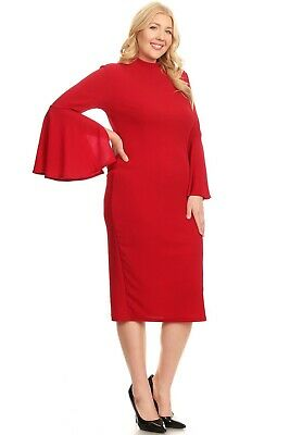 Women/'s Plus Size Midi Dress Long Sleeve Mock Neck Bell Sleeves