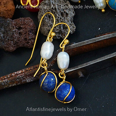 925 Silver Pearl & Lapis Charm Earrings 24k Gold Vermeil Handmade Ancient Work